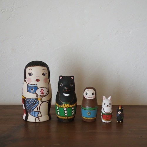 MM5-1 Matryoshka 5sets 金太郎 KinTaro  Size:11.5cm/Material: wood  ¥9,500+Tax
