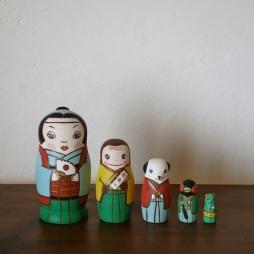 MM5-2 Matryoshka 5sets 桃太郎 MomoTaro  Size:11.5cm/Material: wood  ¥9,500+Tax