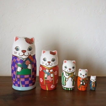 ML5-1-2 Matryoshka 5sets 五節句猫 Five festivals cat  Size:16.5cm/Material: wood  ¥18,000+Tax