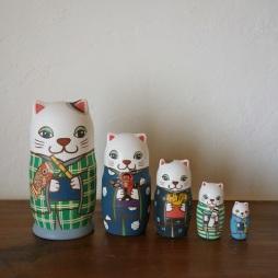 ML5-3 Matryoshka 5sets 端午の節句猫 Boys Festival cat  Size:16.5cm/Material: wood  ¥18,000+Tax