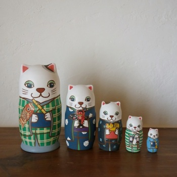 ML5-3 Matryoshka 5sets 端午の節句猫 Boys Festival cat  Size:16.5cm/Material: wood  ¥18,000+Tax