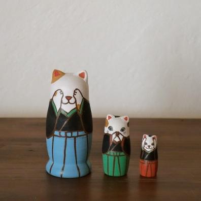 MS3-5 Matryoshka 3sets 三猫 Three wise cat  Size:7cm/Material: wood  ¥6,500+Tax