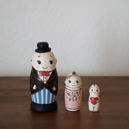 MS3-6 Matryoshka 3sets キューピーさん  Kewpie  Size:7cm/Material: wood  ¥6,500+Tax