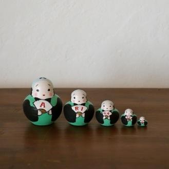 MSD5-4 Matryoshka 5sets ありがとう福助ARIGATOU Fukusuke    Size:5cm/Material: wood  ¥4,200+Tax