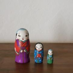 MS3-13 Matryoshka 3sets お多福と福助 Otafuku and Fukusuke  Size:7cm/Material: wood  ¥6,500+Tax