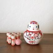 MB-5 こけしボウリング Kokeshi Bowling  Size:7×5×5cm (body) 2.5× 1× 1cm (bowling pins)/Material: wood, porcelain  ¥5,000+Tax