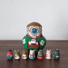 MF-2 八妖怪 Eight specter  Size: 9×6.5×6.5cm (body) Each about 2.5cm (feve)/Material: wood, porcelain  ¥7,500+Tax