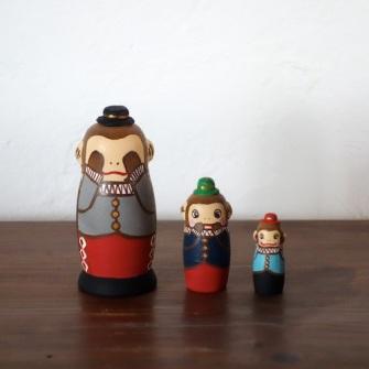 MS3-15 Matryoshka 3sets 三猿  Three wise monkey  Size:7cm/Material: wood  ¥6,500+Tax