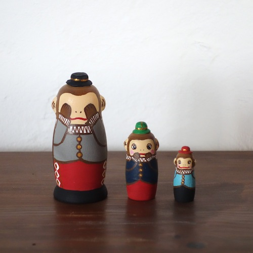 MS3-15 Matryoshka 3sets 三猿  Three wise monkey  Size:7cm/Material: wood  ¥6,500+Tax