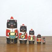 MM5-7 Matryoshka 5sets 猫サンタ楽隊 Cat Santa marching band  Size:11.5cm/Material: wood  ¥9,500+Tax
