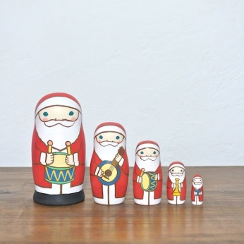MM5-6 Matryoshka 5sets サンタ楽隊 Santa marching band  Size:11.5cm/Material: wood  ¥9,500+Tax