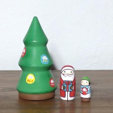 MT3-1-1 Matryoshka 3sets クリスマスツリー Christmas tree  Size:10cm/Material: wood  ¥7,200+Tax