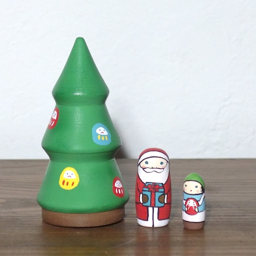 MT3-1-1 Matryoshka 3sets クリスマスツリー Christmas tree  Size:10cm/Material: wood  ¥7,200+Tax