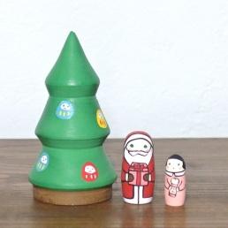 MT3-1-2 Matryoshka 3sets クリスマスツリー Christmas tree  Size:10cm/Material: wood  ¥7,200+Tax