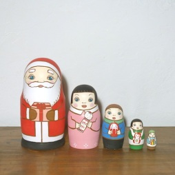 ML5-5-2 Matryoshka 5sets サンタの贈り物 Santa's gift  Size:16.5cm/Material: wood  ¥18,000+Tax