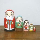 ML5-5-1 Matryoshka 5sets サンタの贈り物 Santa's gift  Size:16.5cm/Material: wood  ¥18,000+Tax