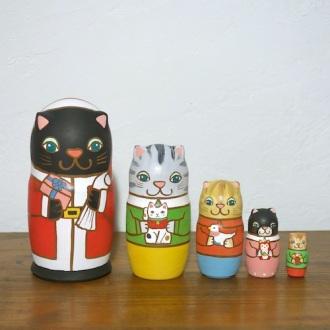 ML5-6 Matryoshka 5sets 猫サンタの贈り物 Cat Santa's gift サンタの贈り物 Santa's gift  Size:16.5cm/Material: wood  ¥18,000+Tax