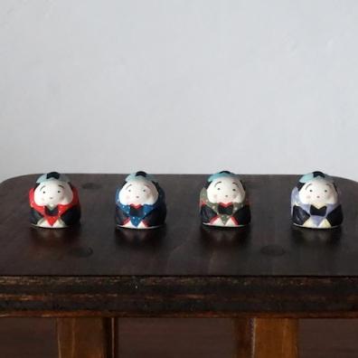 福助さんのフェーブ Feve of Fukusuke  Size:2.0×2.0×1.8cm/Color : red , blue , green , purple/Materials: porcelain  ¥650+Tax  FEVES-46赤 EVES-47青 FEVES-48緑 FEVES-49紫