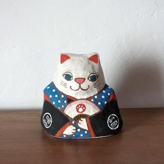 PM-02B 張り子 左扇猫 青 Cat of papier-mache Size:W16×D13cm×H16cm/Material:Japanese paper  ¥5,400+tax