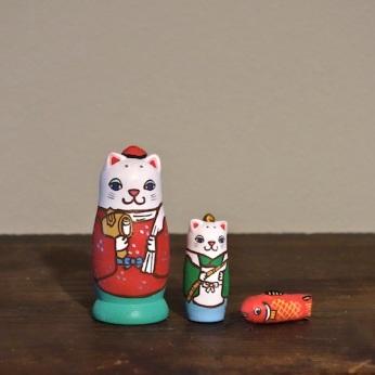 MS3-18 MATRYOSHKA 3sets 大黒恵比寿猫 Daikoku Ebisu cat  Size:7cm/Material: wood  ¥6,500+Tax