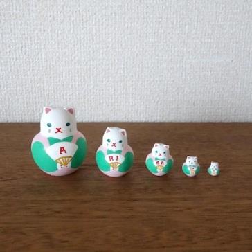 MSD5-6p Matryoshka 5sets ありがとう福猫ARIGATOU Fukuneko    Size:4.5cm/Material: wood  ¥4,200+Tax