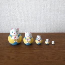 MSD5-6y Matryoshka 5sets ありがとう福猫ARIGATOU Fukuneko    Size:5cm/Material: wood  ¥4,200+Tax