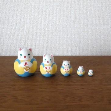 MSD5-6y Matryoshka 5sets ありがとう福猫ARIGATOU Fukuneko    Size:4.5cm/Material: wood  ¥4,200+Tax