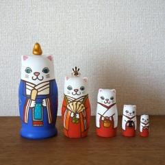 MM5-8 Matryoshka 5sets 猫雛 Cat Hinadoll  Size:11.5cm/Material: wood , metal , stone powder clay  ¥9,500+Tax
