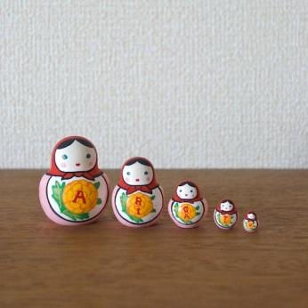 MSD5-8r Matryoshka 5sets ありがとうマトリョーシカ ARIGATOU Matryoshka    Size:4.5cm/Material: wood  ¥4,200+Tax