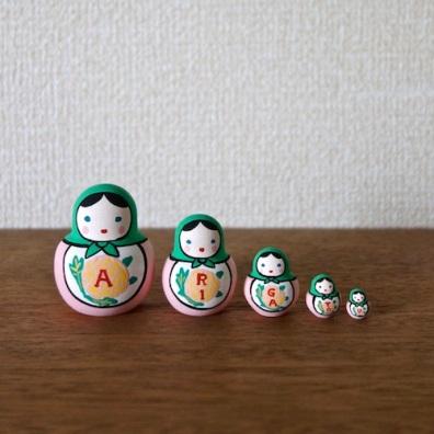 MSD5-8g Matryoshka 5sets ありがとうマトリョーシカ ARIGATOU Matryoshka    Size:4.5cm/Material: wood  ¥4,200+Tax
