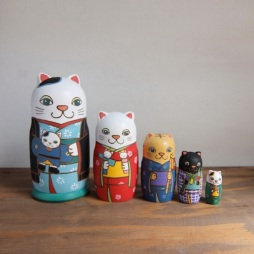ML5-1-1 Matryoshka 5sets 五節句猫 Five festivals cat  Size:16.5cm/Material: wood  ¥18,000+Tax