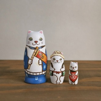 MS3-3 Matryoshka 3sets 端午の節句猫 Boys Festival cat  Size:7cm/Material: wood  ¥6,500+Tax