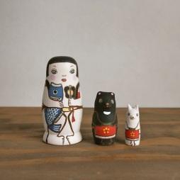 MS3-14 Matryoshka 3sets 金太郎  KinTaro  Size:7cm/Material: wood  ¥6,500+Tax