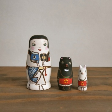 MS3-14 Matryoshka 3sets 金太郎  KinTaro  Size:7cm/Material: wood  ¥6,500+Tax