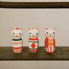 ねこけしのフェーブ Feve of Cat kokeshi  Size:各2.8×1.3×1.3cm/Color: stripe , diamond , kimono/Materials: porcelain  ¥600+Tax  FEVES-31ストライプ FEVES-32ダイヤ FEVES-33キモノ