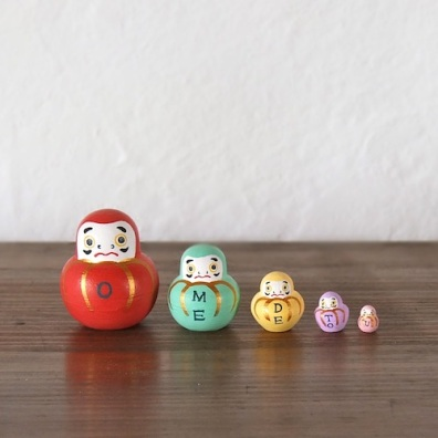 MSD5-1 Matryoshka 5sets おめでとうダルマ OMEDETOU Dharma  Size:5cm/Material: wood  ¥4,000+Tax