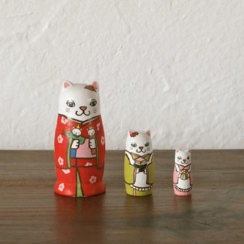 MS3-2 Matryoshka 3sets 雛祭り猫 Girls Festival cat  Size:7cm/Material: wood  ¥6,500+Tax