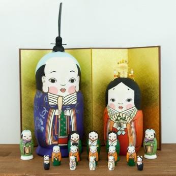 MLL17-1 Matryoshka 17sets お多福助お雛様 Hina Doll  Size:28cm/Material: wood , plastic / metal fittings(crown)  ¥54,000+Tax