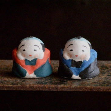 福助のフェーブ Feve of Fukusuke Size :1.5×2×2.2cm Color:blue,red /Materials: porcelain   ¥600+Tax  FEVE-6青/FEVE-7赤