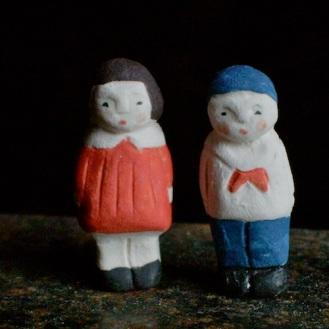 男の子女の子のフェーブ(2個組) Feve of boy and girl(2set)  Size:各1×1×3cm/Materials:porcelain  ¥1,500+Tax  FEVES-65