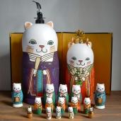 MLL17-2 Matryoshka 17sets 猫雛 Cat Hina Doll  Size:28cm/Material: wood , plastic / metal fittings(crown)  ¥54,000+Tax