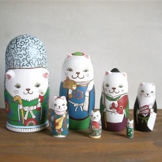 ML7-1 Matryoshka 7sets 七福神猫 Seven Lucky Gods cat  Size:16.5cm/Material: wood  ¥23,000+Tax