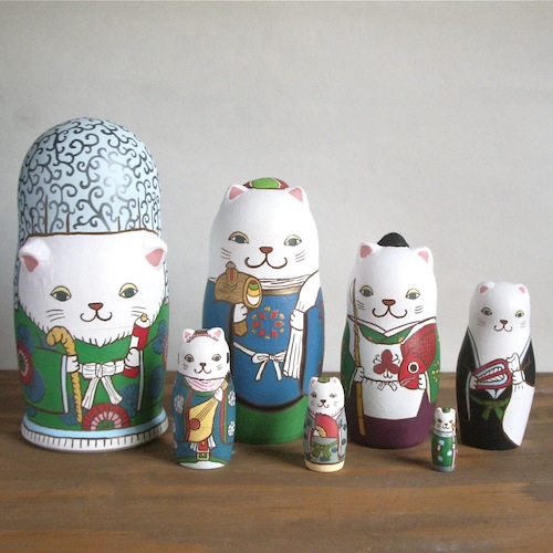 ML7-1 Matryoshka 7sets 七福神猫 Seven Lucky Gods cat  Size:16.5cm/Material: wood  ¥23,000+Tax