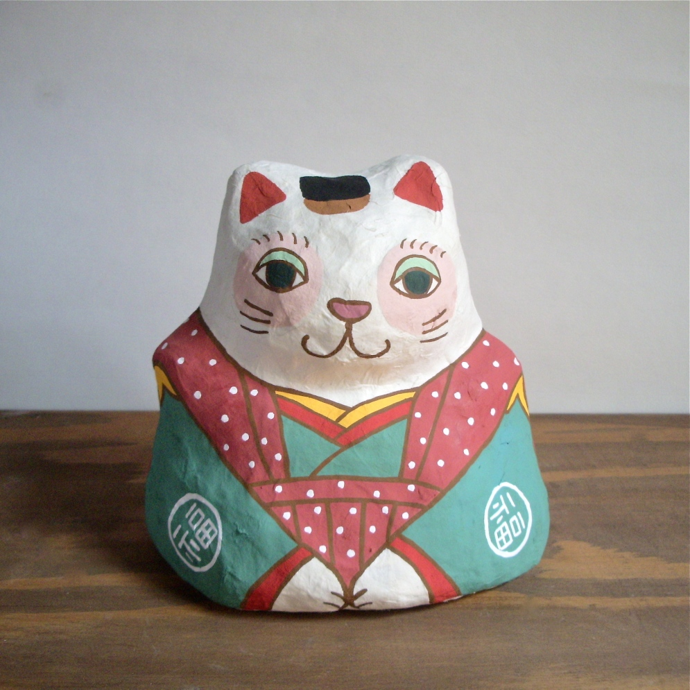 PM-01 張り子 福猫 Cat of papier-mache Size:W16×D13cm×H16cm/Material:Japanese paper  ¥5,400+tax