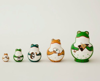 MD5-1 Matryoshka 3sets 蝦蟇蛙 Toad frog  Size:9cm/Material: wood  ¥11,000+Tax