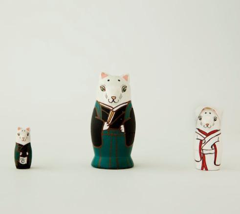 MS3-10 Matryoshka 3sets 狐の嫁入り fox wedding  Size:7cm/Material: wood  ¥6,500+Tax