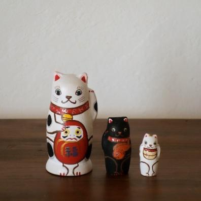 MS3-4 Matryoshka 3sets 招き猫 beckoning cat  Size:7cm/Material: wood  ¥6,500+Tax