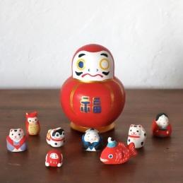 MF-1 福だるま Fu Dharma  Size:9×6.5×6.5cm (body)Each about 1.5~3cm (feve)/Material: wood, porcelain  ¥6,200+Tax
