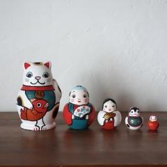 MLD5-1 Matryoshka 5sets めでた尽くし  Lucky charm  Size:11cm/Material: wood  ¥13,500+Tax