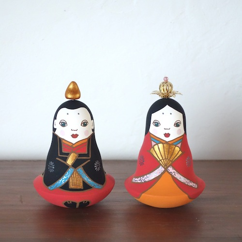 MP-1 雛人形  おきあがりこぼしHina Doll( Roly-poly)  Size:H 11cm/Material : wood , metal , stone powder clay  ¥12,000+Tax